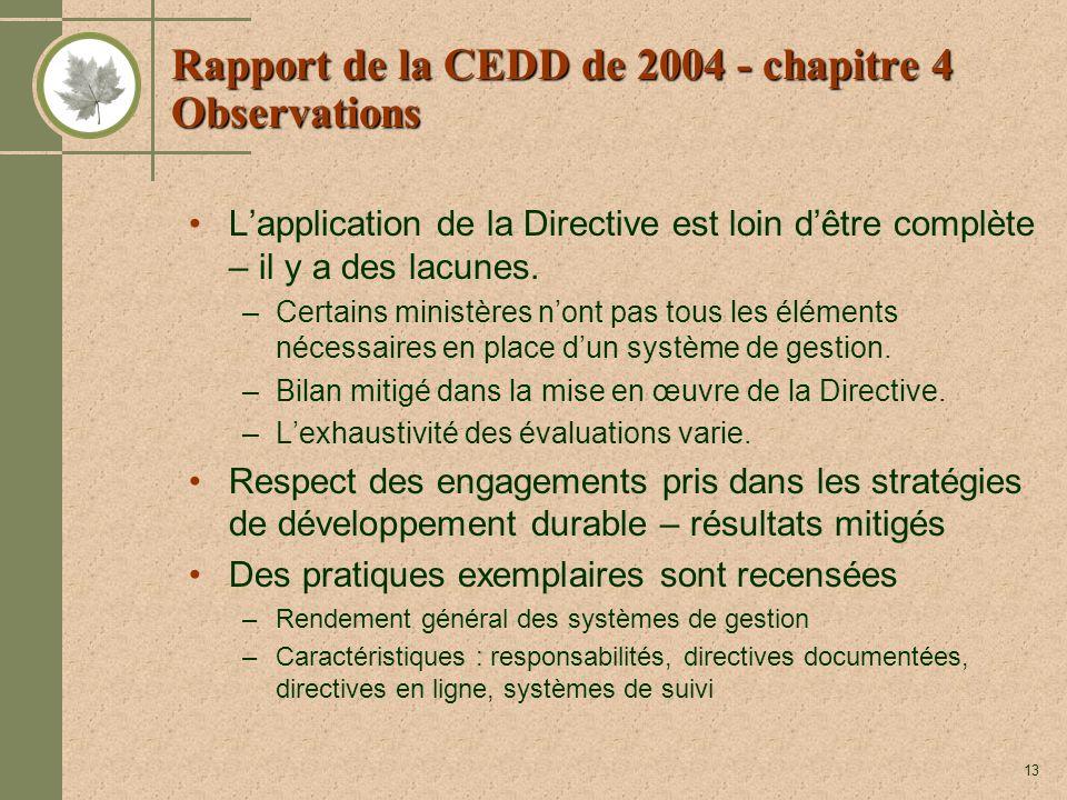 13 Rapport de la CEDD de 2004 - chapitre 4 Observations Lapplication de la Directive est loin dêtre complète – il y a des lacunes. –Certains ministère
