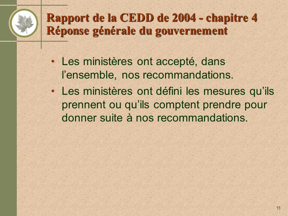 15 Rapport de la CEDD de 2004 - chapitre 4 Réponse générale du gouvernement Les ministères ont accepté, dans lensemble, nos recommandations. Les minis