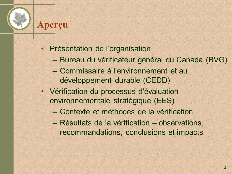 2 Aperçu Présentation de lorganisation –Bureau du vérificateur général du Canada (BVG) –Commissaire à lenvironnement et au développement durable (CEDD