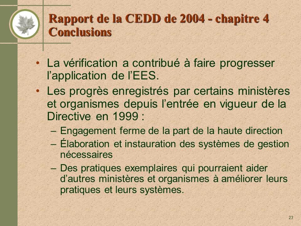 23 Rapport de la CEDD de 2004 - chapitre 4 Conclusions La vérification a contribué à faire progresser lapplication de lEES. Les progrès enregistrés pa