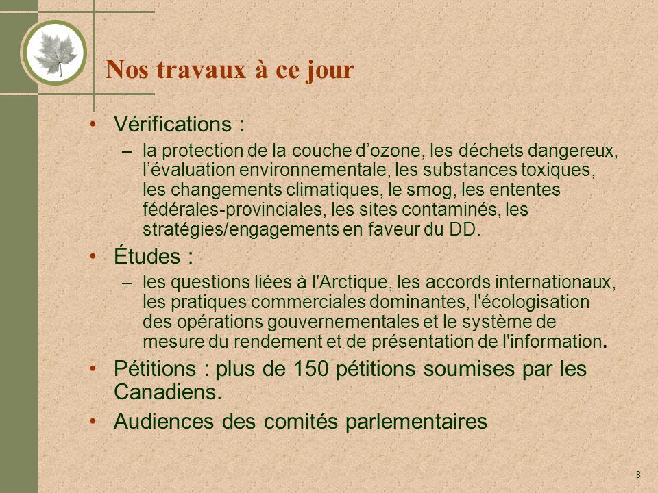 8 Nos travaux à ce jour Vérifications : –la protection de la couche dozone, les déchets dangereux, lévaluation environnementale, les substances toxiques, les changements climatiques, le smog, les ententes fédérales-provinciales, les sites contaminés, les stratégies/engagements en faveur du DD.