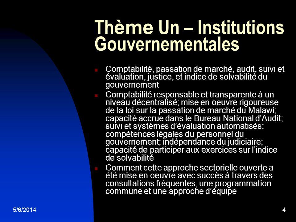 5/6/20144 Th ème Un – Institutions Gouvernementales Comptabilité, passation de marché, audit, suivi et évaluation, justice, et indice de solvabilité d