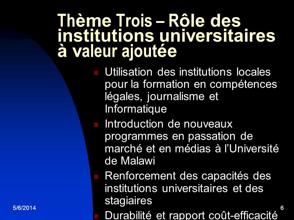5/6/20146 Th ème Trois – R ôle des institutions universitaires à v aleur ajout ée Utilisation des institutions locales pour la formation en compétence