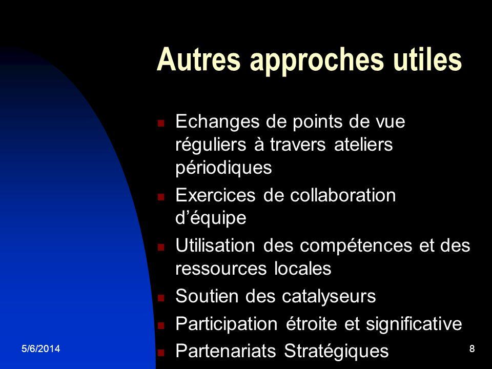 5/6/20148 Autres approches utiles Echanges de points de vue réguliers à travers ateliers périodiques Exercices de collaboration déquipe Utilisation de