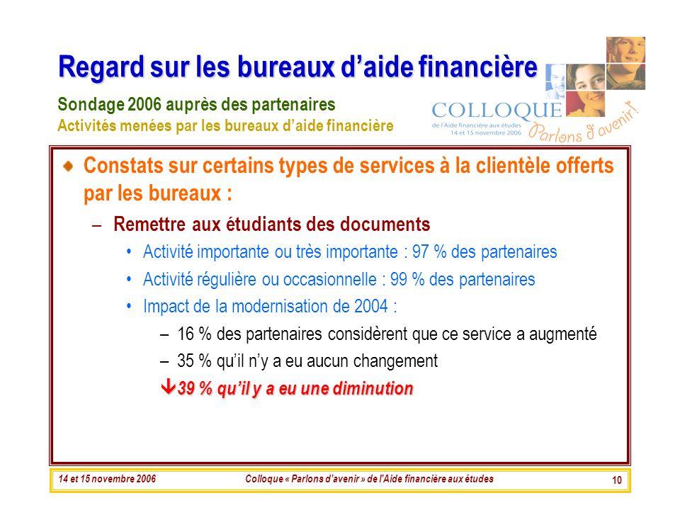 14 et 15 novembre 2006Colloque « Parlons davenir » de lAide financière aux études 10 Regard sur les bureaux daide financière Constats sur certains typ
