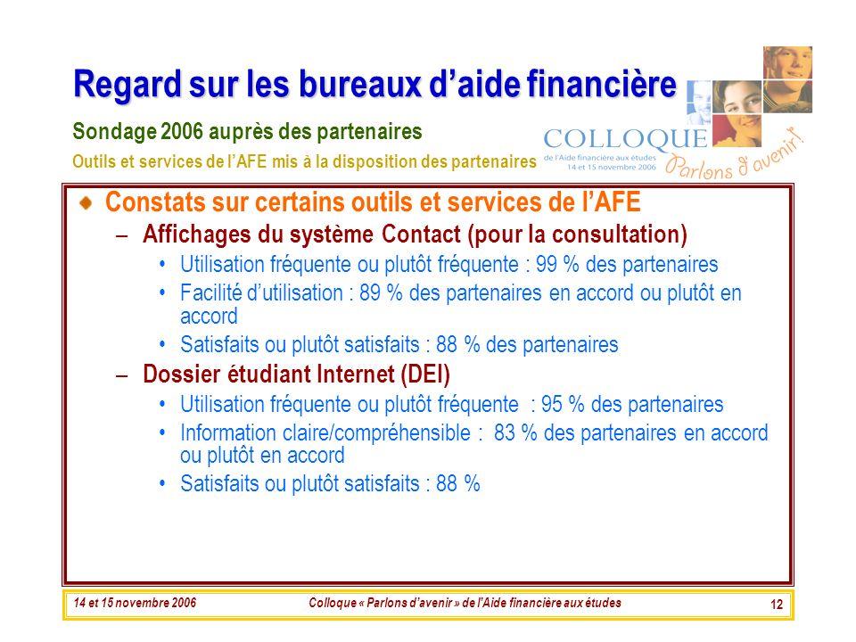 14 et 15 novembre 2006Colloque « Parlons davenir » de lAide financière aux études 12 Regard sur les bureaux daide financière Constats sur certains out