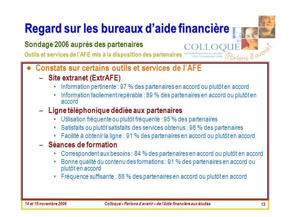 14 et 15 novembre 2006Colloque « Parlons davenir » de lAide financière aux études 13 Regard sur les bureaux daide financière Constats sur certains out