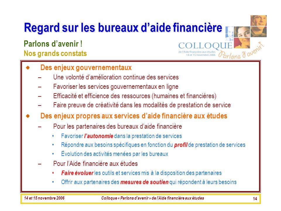 14 et 15 novembre 2006Colloque « Parlons davenir » de lAide financière aux études 14 Regard sur les bureaux daide financière Des enjeux gouvernementau