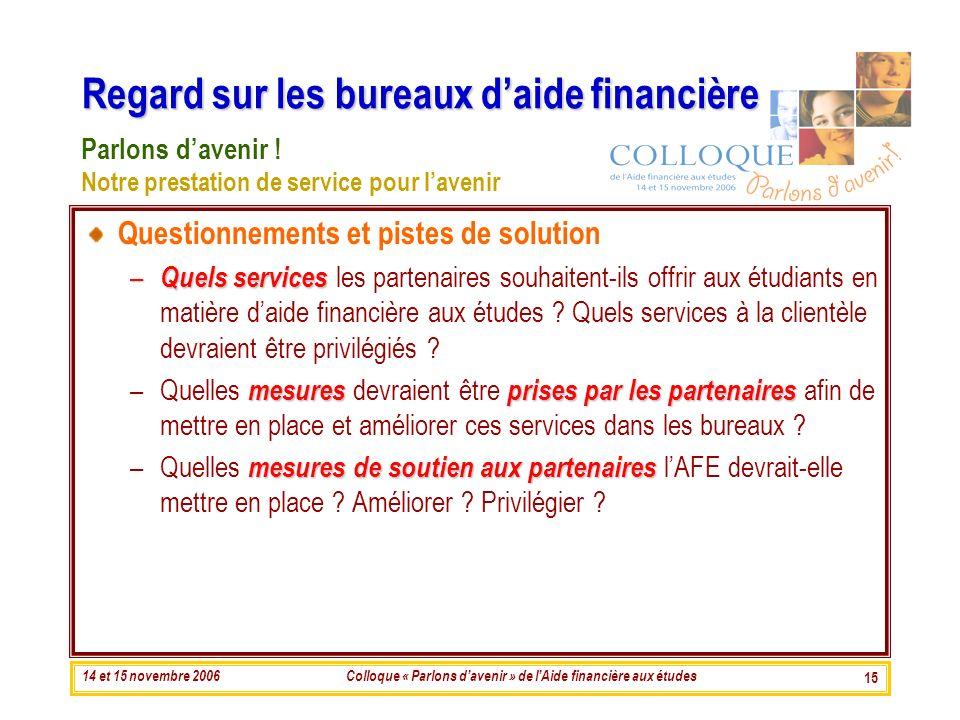 14 et 15 novembre 2006Colloque « Parlons davenir » de lAide financière aux études 15 Regard sur les bureaux daide financière Questionnements et pistes