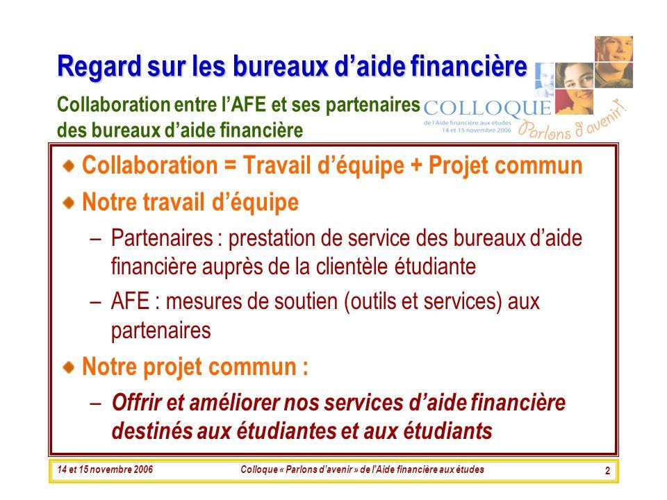 14 et 15 novembre 2006Colloque « Parlons davenir » de lAide financière aux études 2 Regard sur les bureaux daide financière Collaboration = Travail dé