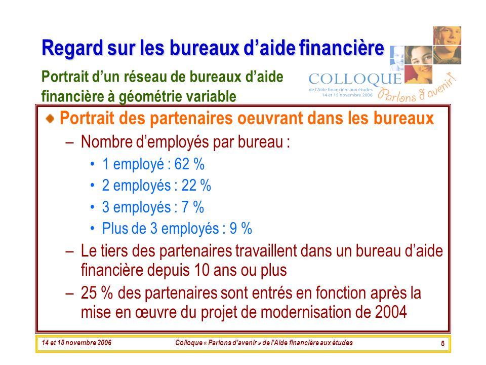 14 et 15 novembre 2006Colloque « Parlons davenir » de lAide financière aux études 5 Regard sur les bureaux daide financière Portrait des partenaires o