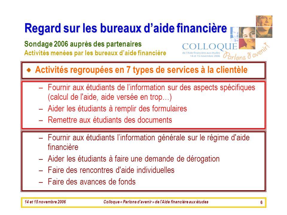 14 et 15 novembre 2006Colloque « Parlons davenir » de lAide financière aux études 6 Regard sur les bureaux daide financière Activités regroupées en 7