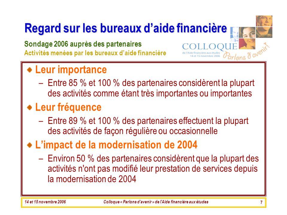 14 et 15 novembre 2006Colloque « Parlons davenir » de lAide financière aux études 7 Regard sur les bureaux daide financière Leur importance –Entre 85