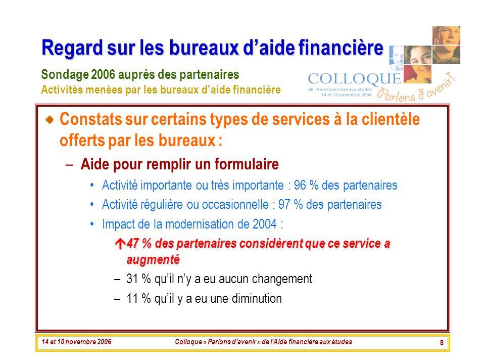 14 et 15 novembre 2006Colloque « Parlons davenir » de lAide financière aux études 8 Regard sur les bureaux daide financière Constats sur certains type