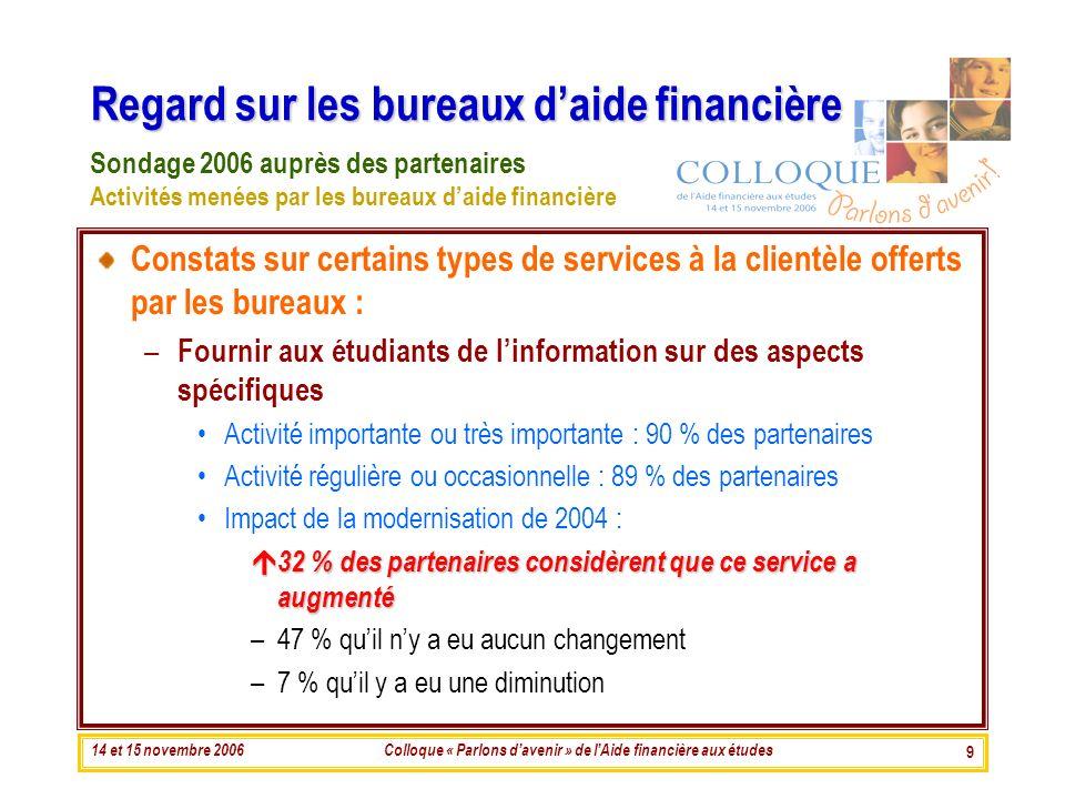 14 et 15 novembre 2006Colloque « Parlons davenir » de lAide financière aux études 9 Regard sur les bureaux daide financière Constats sur certains type
