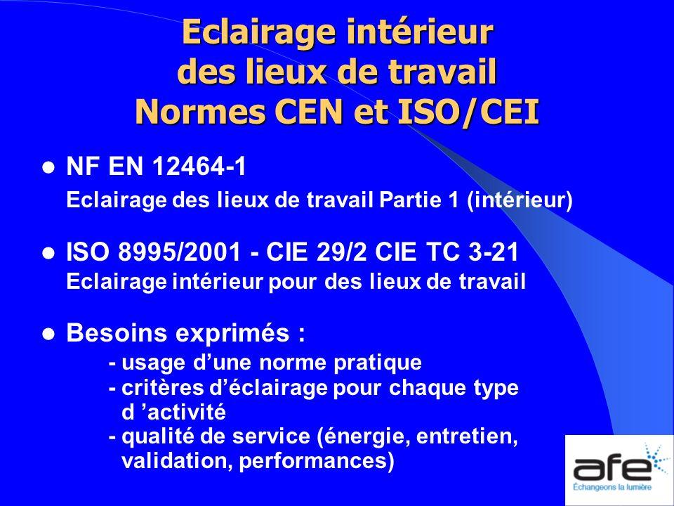 Eclairage intérieur des lieux de travail Normes CEN et ISO/CEI NF EN 12464-1 Eclairage des lieux de travail Partie 1 (intérieur) ISO 8995/2001 - CIE 2