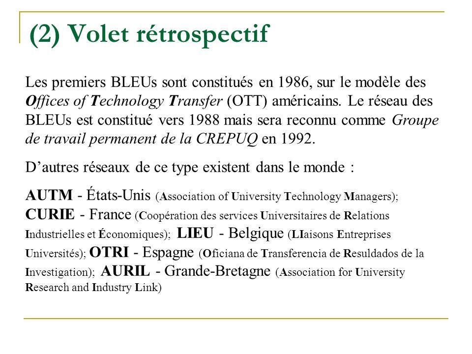 (2) Volet rétrospectif Les premiers BLEUs sont constitués en 1986, sur le modèle des Offices of Technology Transfer (OTT) américains.