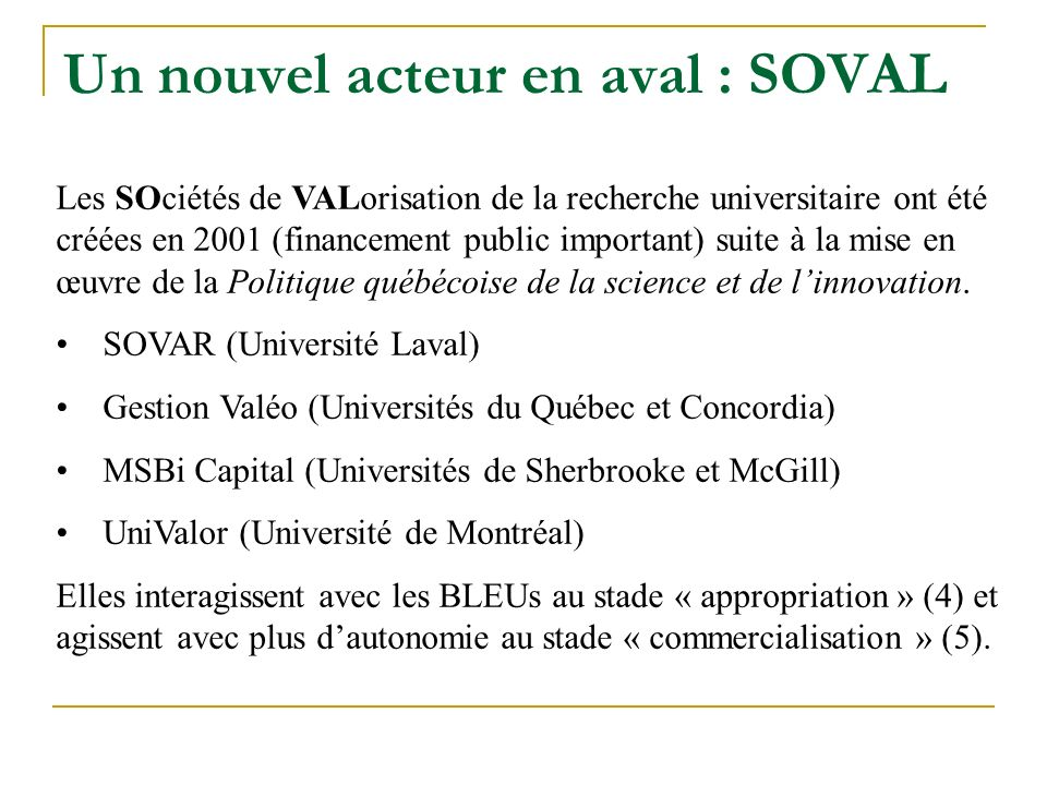 Un nouvel acteur en aval : SOVAL Les SOciétés de VALorisation de la recherche universitaire ont été créées en 2001 (financement public important) suite à la mise en œuvre de la Politique québécoise de la science et de linnovation.