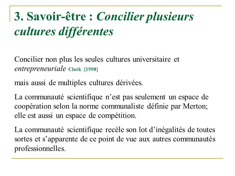 3. Savoir-être : Concilier plusieurs cultures différentes Concilier non plus les seules cultures universitaire et entrepreneuriale Clark [1998] mais a