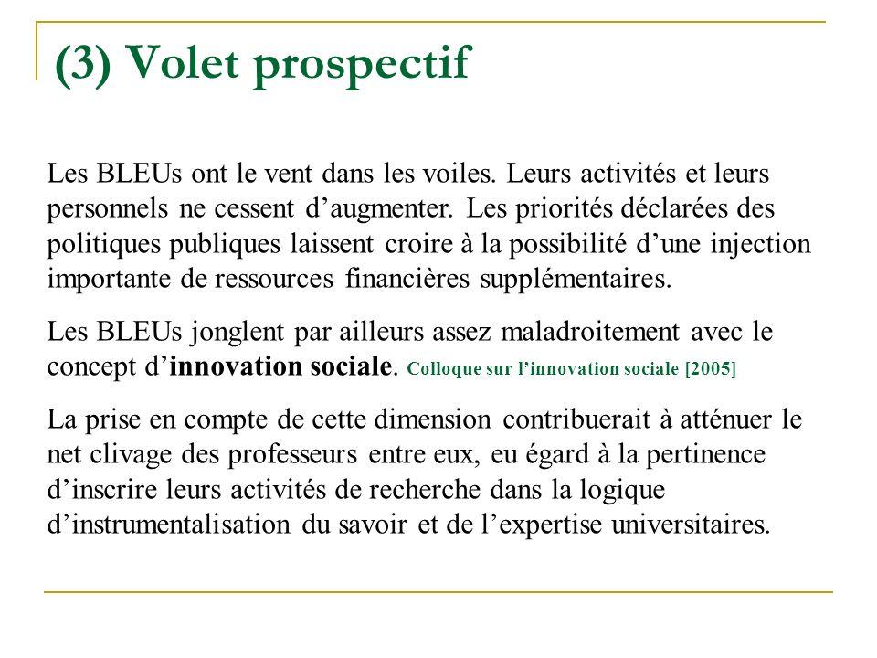 (3) Volet prospectif Les BLEUs ont le vent dans les voiles.