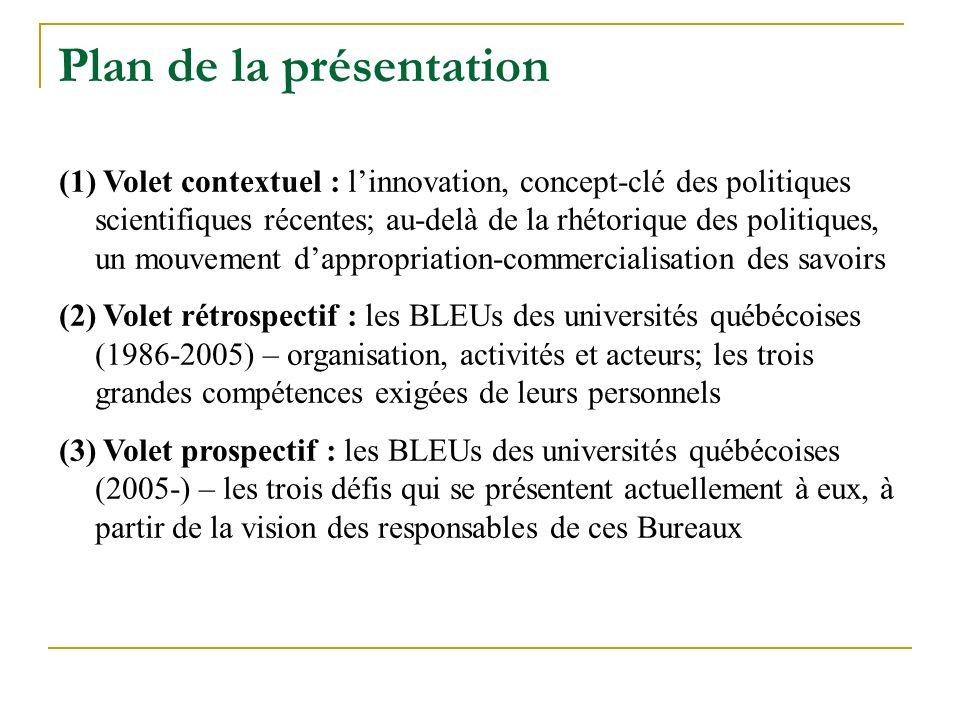 Plan de la présentation (1) Volet contextuel : linnovation, concept-clé des politiques scientifiques récentes; au-delà de la rhétorique des politiques, un mouvement dappropriation-commercialisation des savoirs (2) Volet rétrospectif : les BLEUs des universités québécoises (1986-2005) – organisation, activités et acteurs; les trois grandes compétences exigées de leurs personnels (3) Volet prospectif : les BLEUs des universités québécoises (2005-) – les trois défis qui se présentent actuellement à eux, à partir de la vision des responsables de ces Bureaux