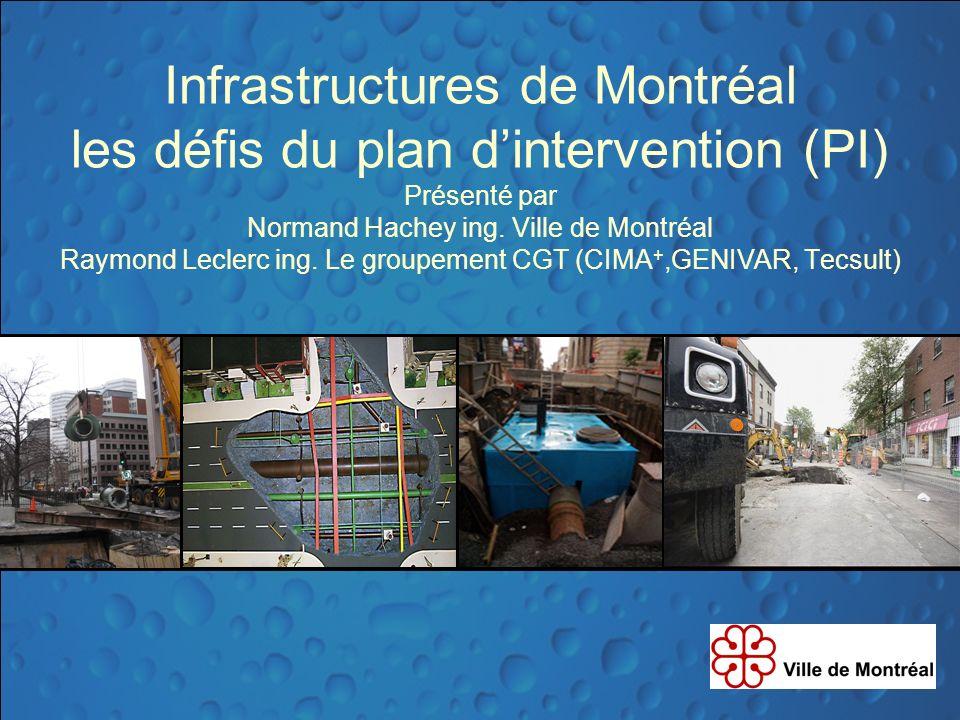 Infrastructures de Montréal les défis du plan dintervention (PI) Présenté par Normand Hachey ing. Ville de Montréal Raymond Leclerc ing. Le groupement