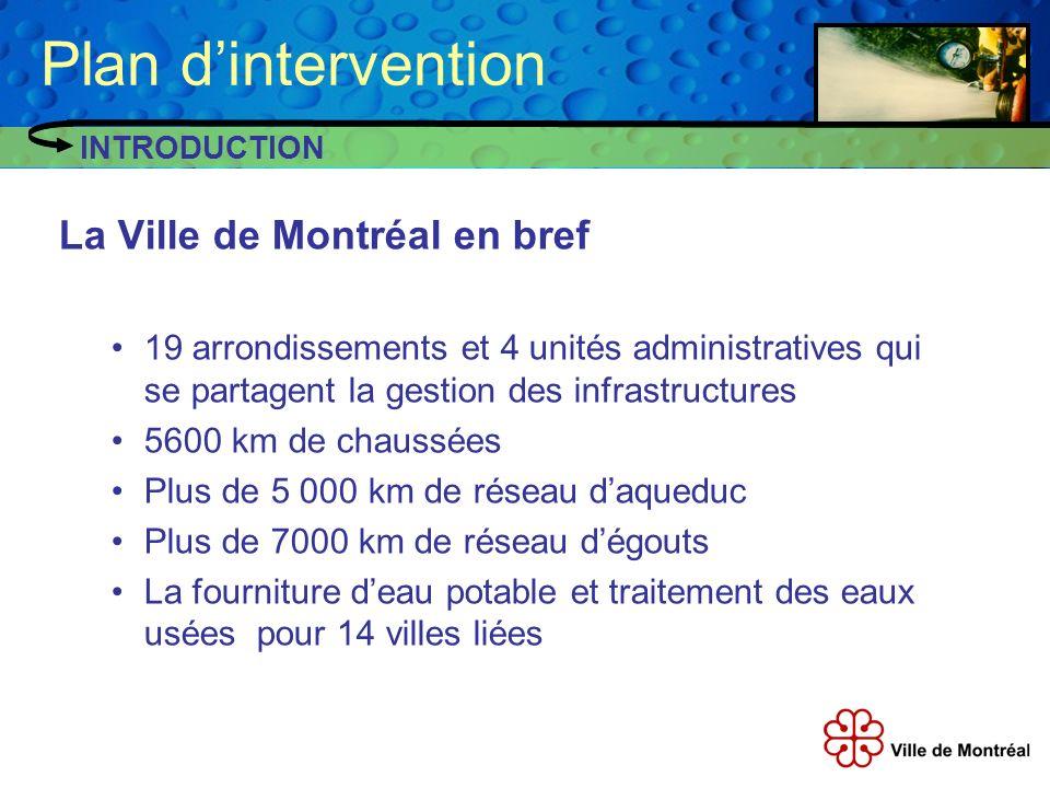 Le plan dintervention de Montréal Débuté en 2005, la Ville prévoit compléter son plan dintervention fin 2009.