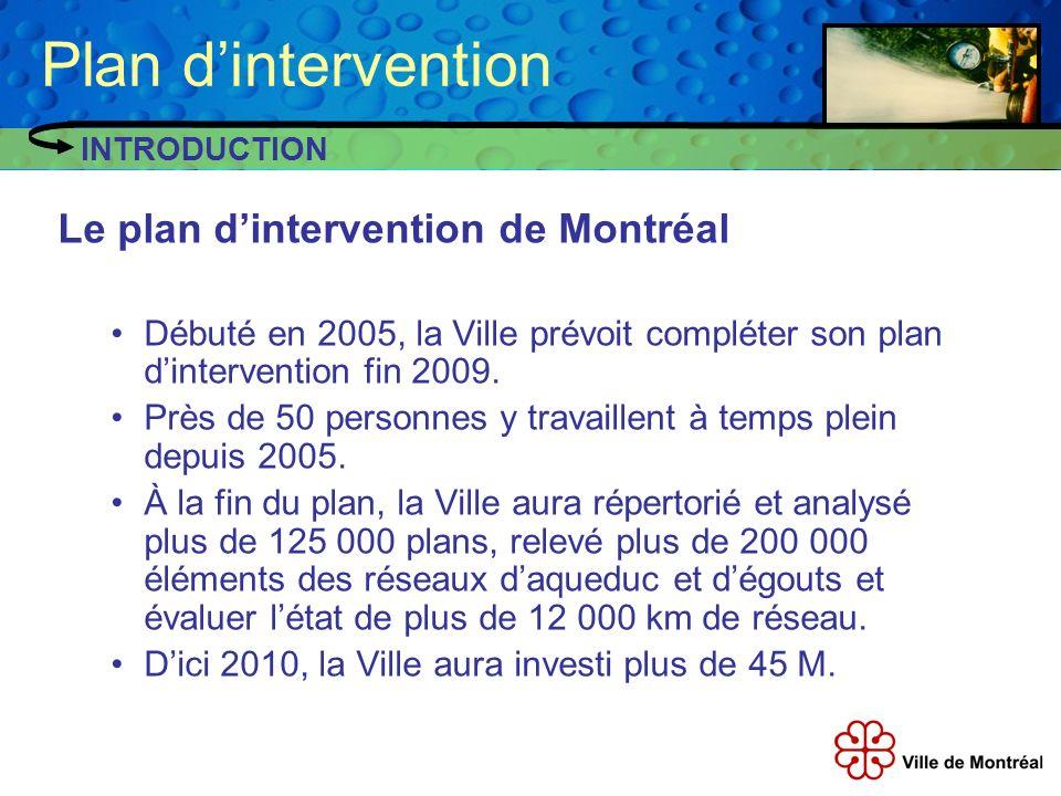 Le plan dintervention de Montréal Débuté en 2005, la Ville prévoit compléter son plan dintervention fin 2009. Près de 50 personnes y travaillent à tem