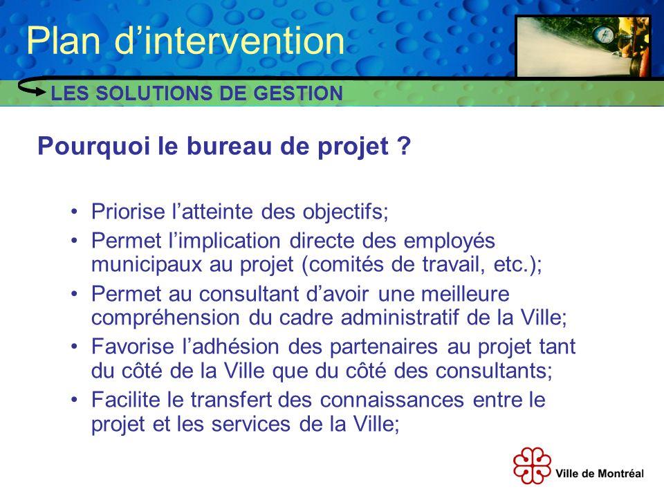 Pourquoi le bureau de projet ? Priorise latteinte des objectifs; Permet limplication directe des employés municipaux au projet (comités de travail, et