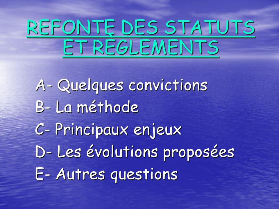 A- Quelques convictions B- La méthode C- Principaux enjeux D- Les évolutions proposées E- Autres questions REFONTE DES STATUTS ET RÈGLEMENTS