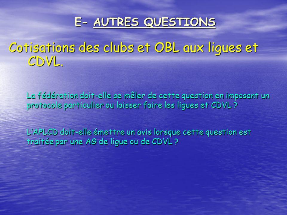 Cotisations des clubs et OBL aux ligues et CDVL. E- AUTRES QUESTIONS La fédération doit-elle se mêler de cette question en imposant un protocole parti