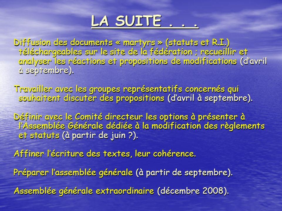 Diffusion des documents « martyrs » (statuts et R.I.) téléchargeables sur le site de la fédération ; recueillir et analyser les réactions et propositi
