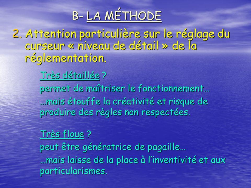 2. Attention particulière sur le réglage du curseur « niveau de détail » de la réglementation. B- LA MÉTHODE Très détaillée ? permet de maîtriser le f