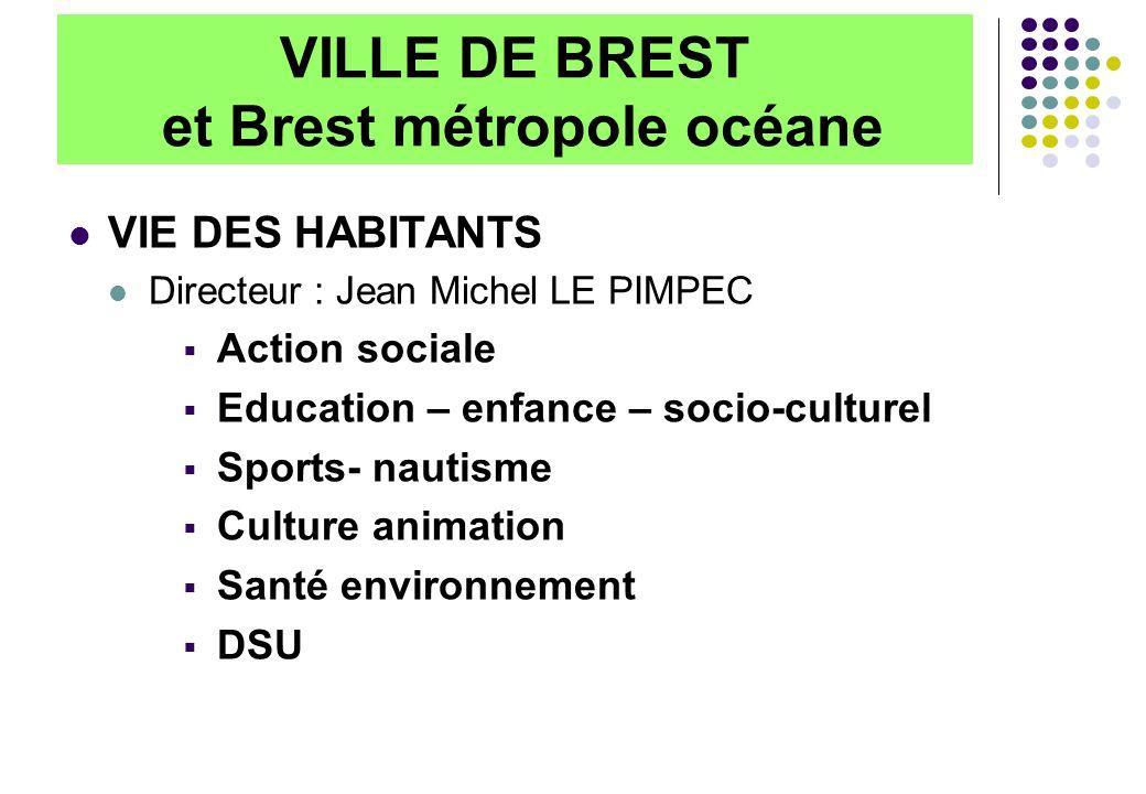 VILLE DE BREST et Brest métropole océane VIE DES HABITANTS Directeur : Jean Michel LE PIMPEC Action sociale Education – enfance – socio-culturel Sports- nautisme Culture animation Santé environnement DSU