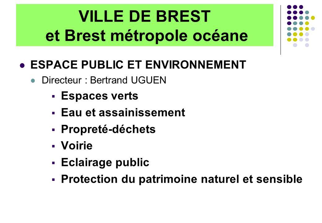 VILLE DE BREST et Brest métropole océane ESPACE PUBLIC ET ENVIRONNEMENT Directeur : Bertrand UGUEN Espaces verts Eau et assainissement Propreté-déchet
