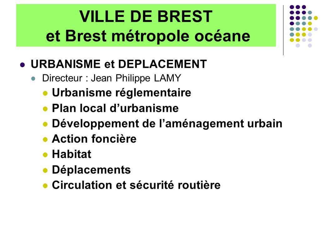 VILLE DE BREST et Brest métropole océane URBANISME et DEPLACEMENT Directeur : Jean Philippe LAMY Urbanisme réglementaire Plan local durbanisme Dévelop