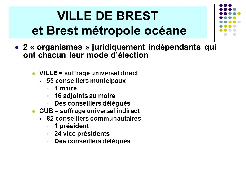 2 « organismes » juridiquement indépendants qui ont chacun leur mode délection VILLE = suffrage universel direct 55 conseillers municipaux 1 maire 16