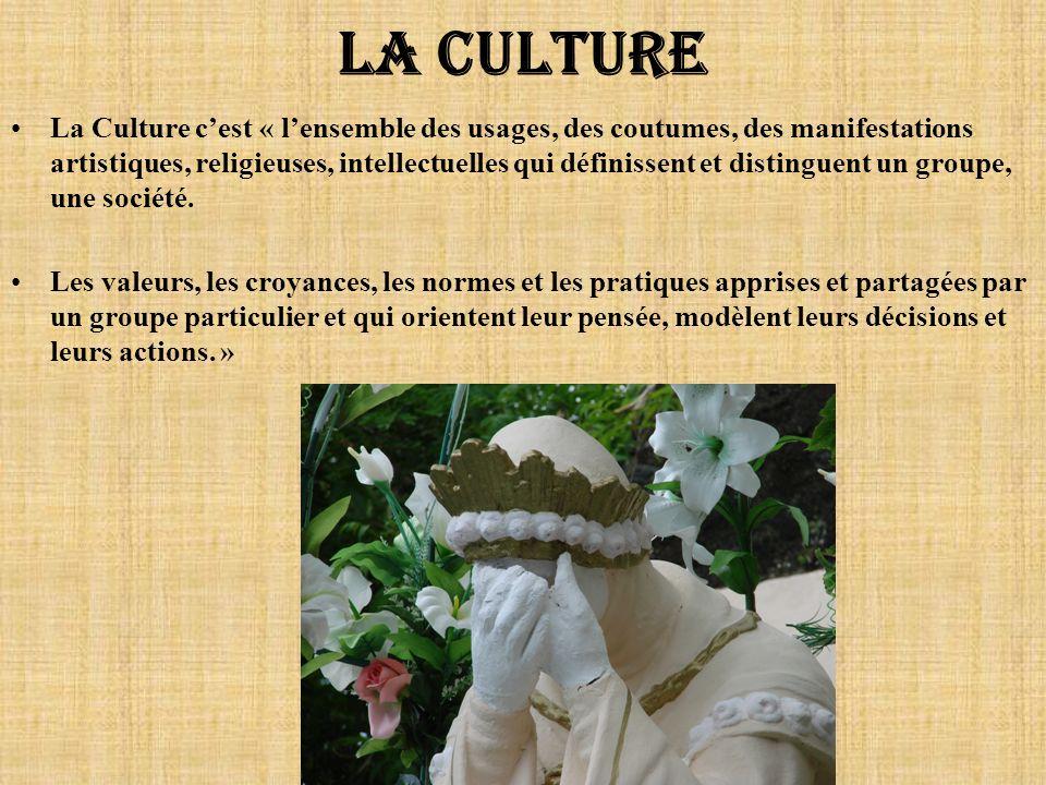 La culture La Culture cest « lensemble des usages, des coutumes, des manifestations artistiques, religieuses, intellectuelles qui définissent et disti