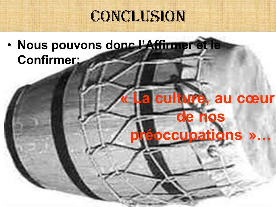 Conclusion Nous pouvons donc lAffirmer et le Confirmer: « La culture, au cœur de nos préoccupations »…