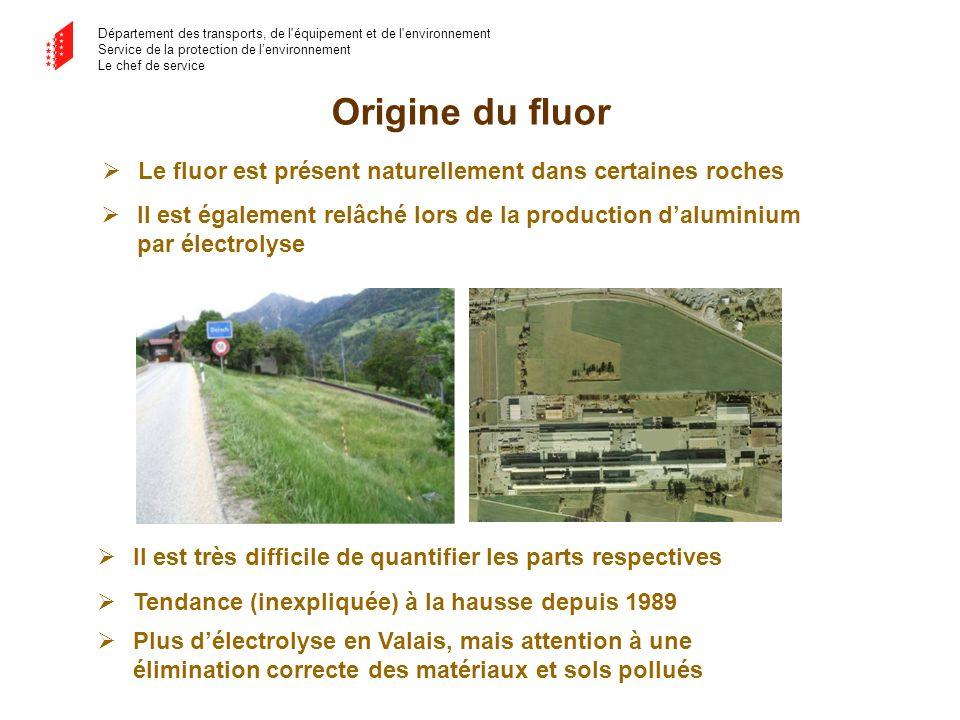 Département des transports, de l'équipement et de l'environnement Service de la protection de lenvironnement Le chef de service Origine du fluor Le fl