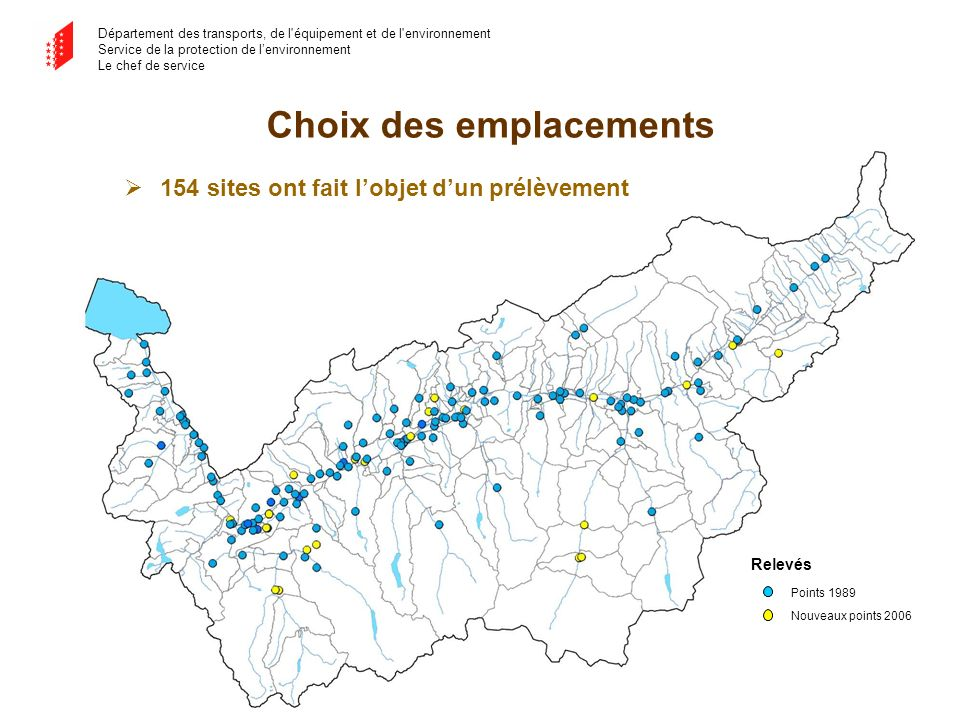 Département des transports, de l'équipement et de l'environnement Service de la protection de lenvironnement Le chef de service 154 sites ont fait lob
