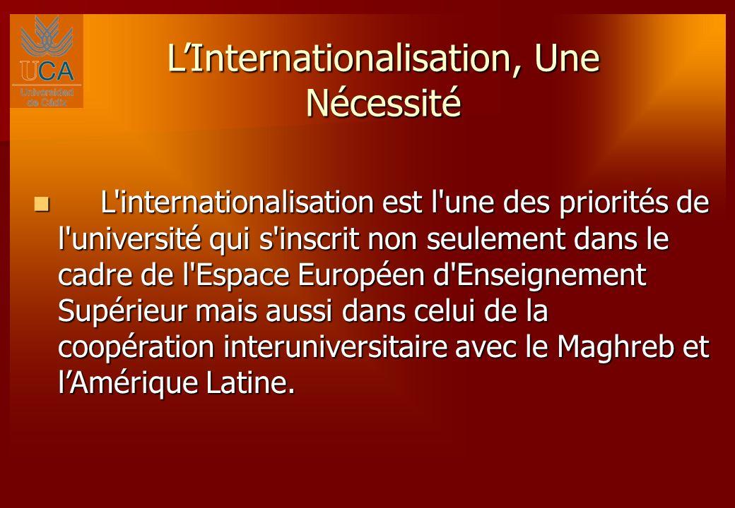 LInternationalisation, Une Nécessité L internationalisation est l une des priorités de l université qui s inscrit non seulement dans le cadre de l Espace Européen d Enseignement Supérieur mais aussi dans celui de la coopération interuniversitaire avec le Maghreb et lAmérique Latine.