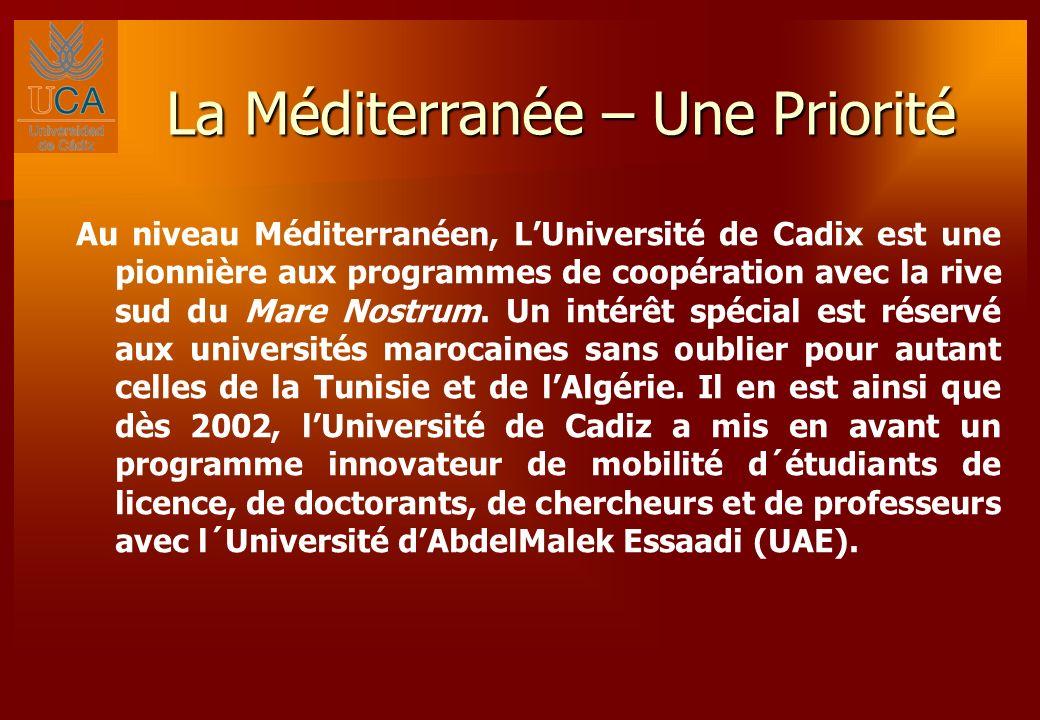 La Méditerranée – Une Priorité Au niveau Méditerranéen, LUniversité de Cadix est une pionnière aux programmes de coopération avec la rive sud du Mare Nostrum.