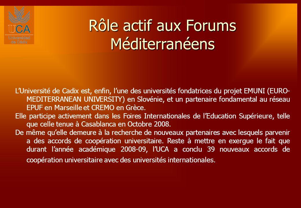 Rôle actif aux Forums Méditerranéens LUniversité de Cadix est, enfin, lune des universités fondatrices du projet EMUNI (EURO- MEDITERRANEAN UNIVERSITY) en Slovénie, et un partenaire fondamental au réseau EPUF en Marseille et CREMO en Grèce.