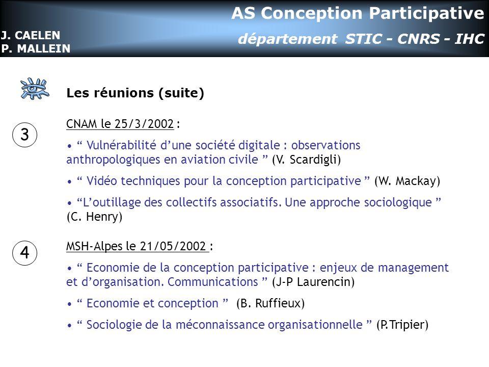 Les réunions (suite) CNAM le 25/3/2002 : Vulnérabilité dune société digitale : observations anthropologiques en aviation civile (V.