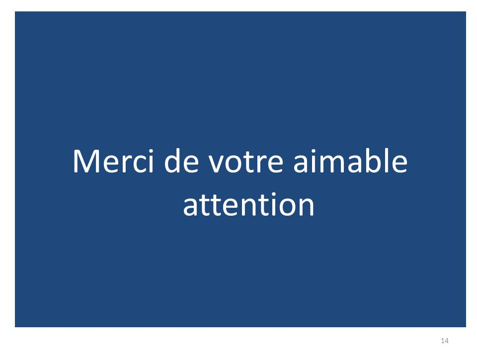 14 Merci de votre aimable attention