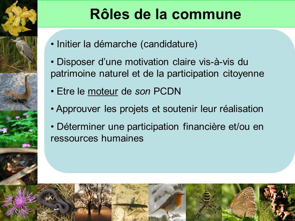 Rôles de la commune Initier la démarche (candidature) Disposer dune motivation claire vis-à-vis du patrimoine naturel et de la participation citoyenne
