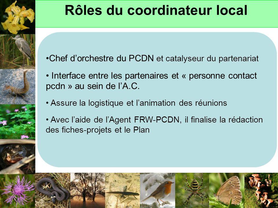 Rôles du coordinateur local Chef dorchestre du PCDN et catalyseur du partenariat Interface entre les partenaires et « personne contact pcdn » au sein