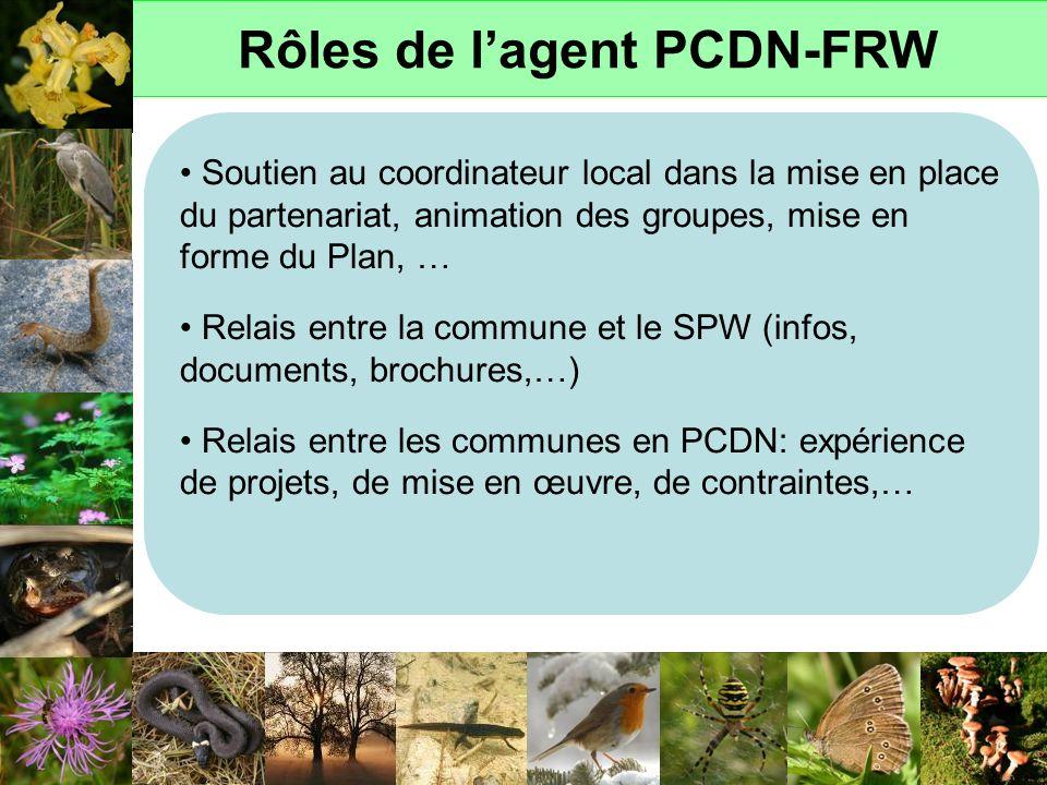 Rôles de lagent PCDN-FRW Soutien au coordinateur local dans la mise en place du partenariat, animation des groupes, mise en forme du Plan, … Relais en