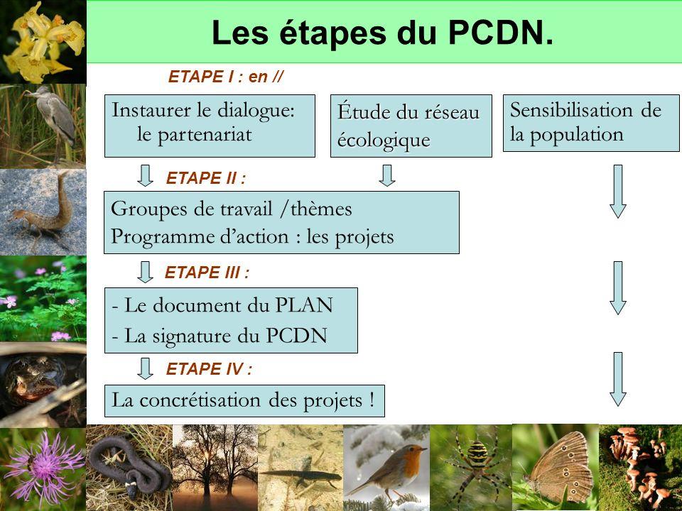 Les étapes du PCDN. Groupes de travail /thèmes Programme daction : les projets - Le document du PLAN - La signature du PCDN La concrétisation des proj